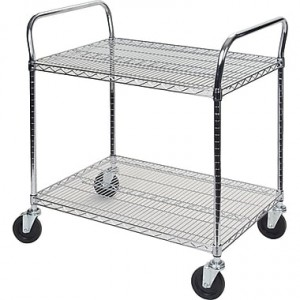 "Wire Utility Cart - No. of Shelves: 2 Capacity: 600 lbs. Cart Material: Chrome Plated Overall Width: 24"" Overall Height: 39"" Ove"